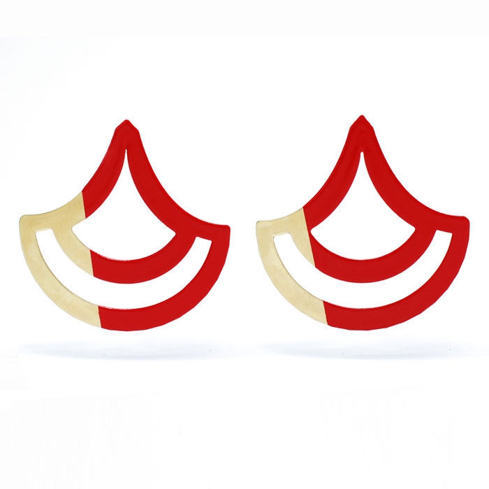 Scallop Earrings – Red and Gold