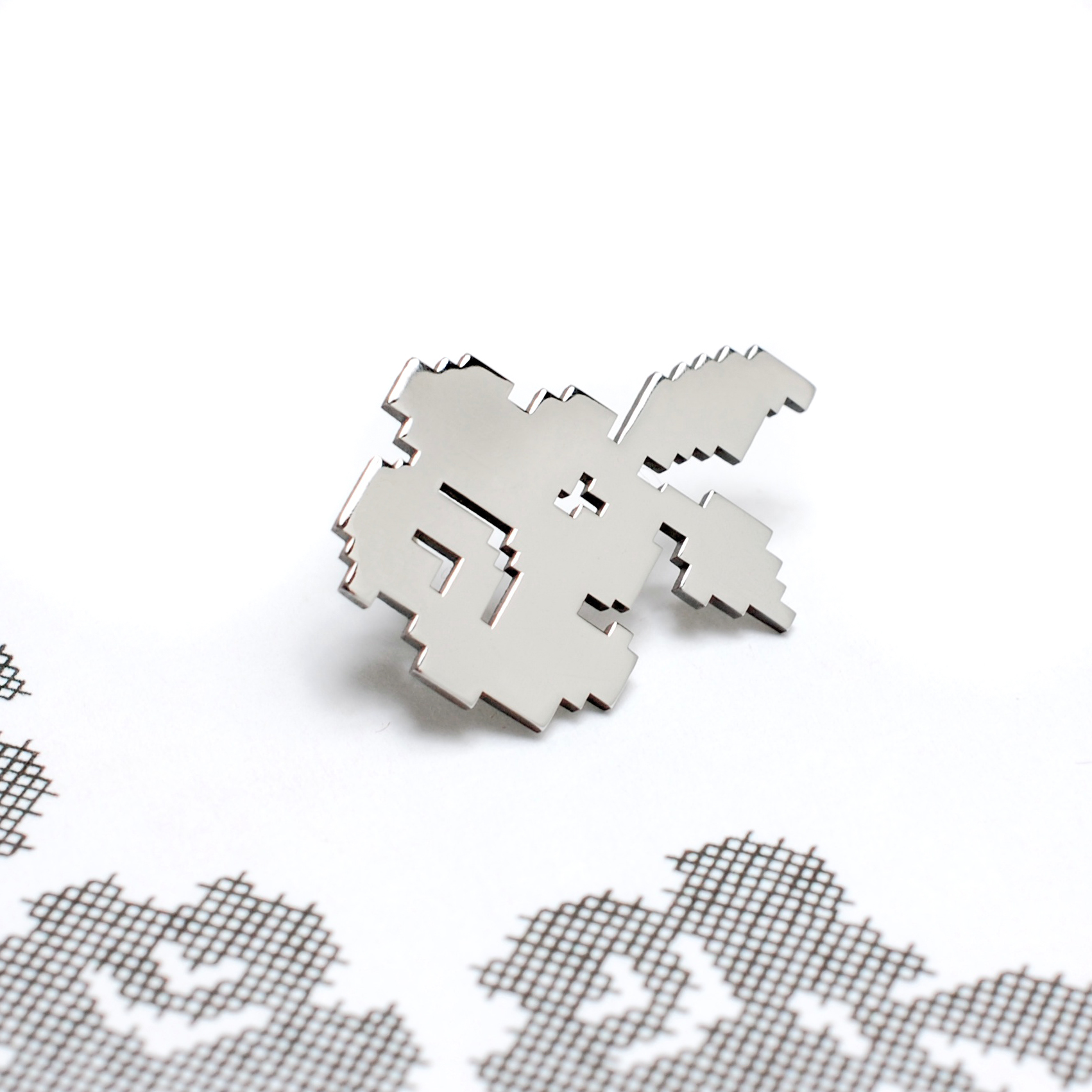 Cross Stitch Pixel Series -Flower Brooch