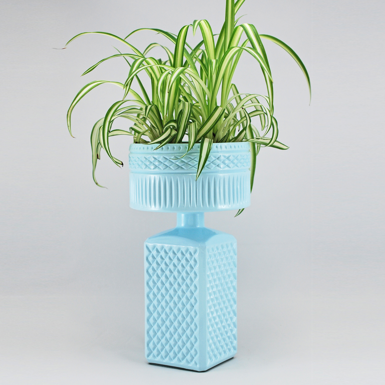 Light Blue Decanter Double Stack