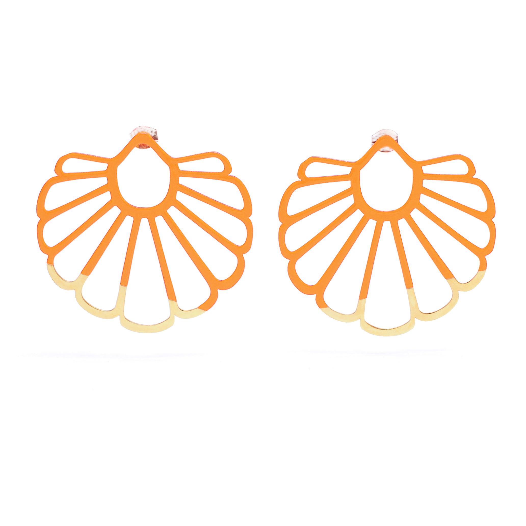 Fan Earrings – Orange and Gold