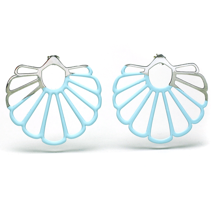 Fan Earring – Blue and Stainless Steel