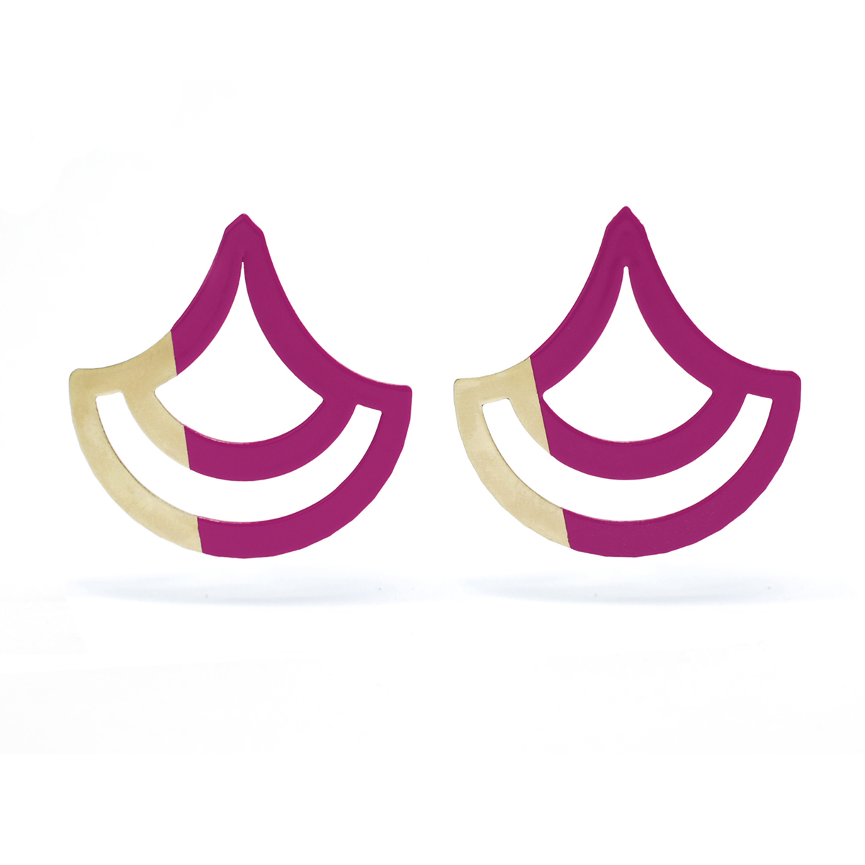 Scallop Earrings – Magenta and Gold