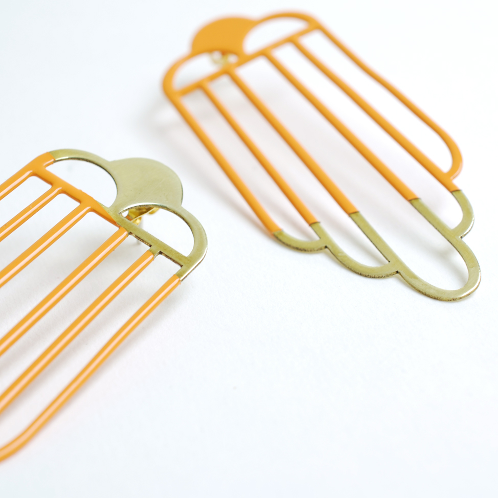 Tower Earrings – Orange and Gold
