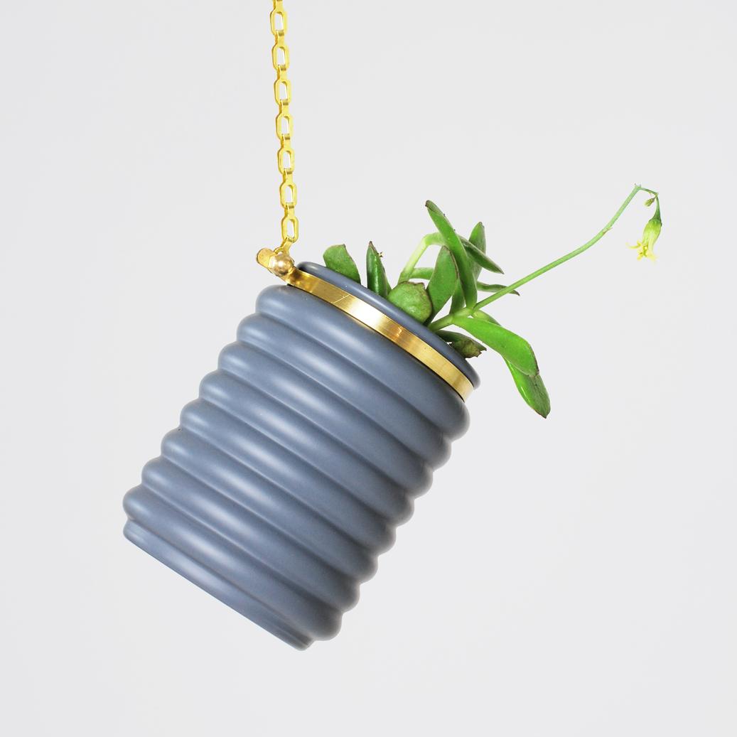 Small Matte Grey Striped Planter