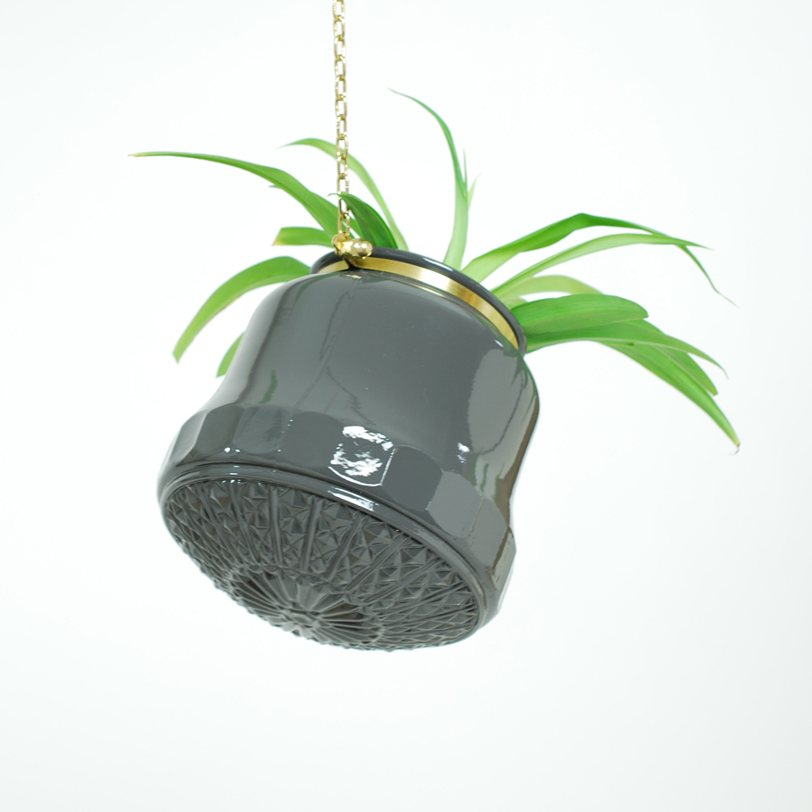Large Grey Diamond Hanging Planter
