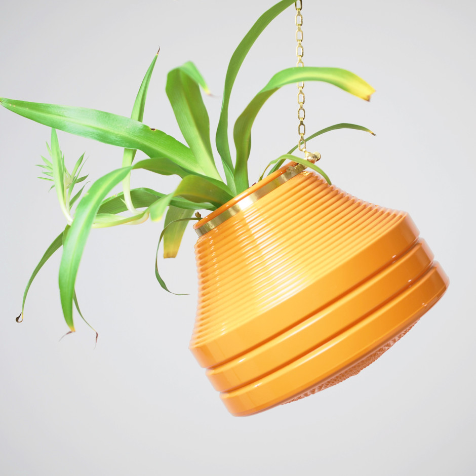 Large Orange Striped Hanging Planter