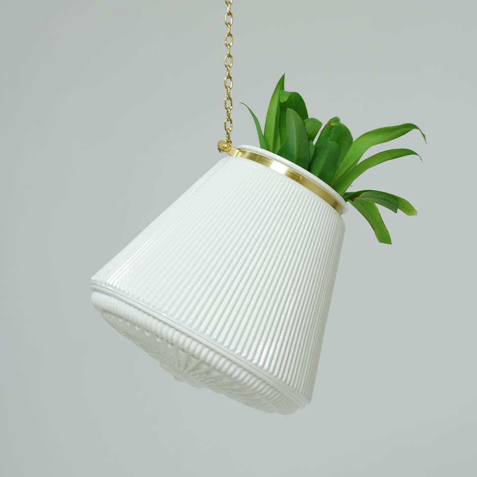 Large White Striped Hanging Planter