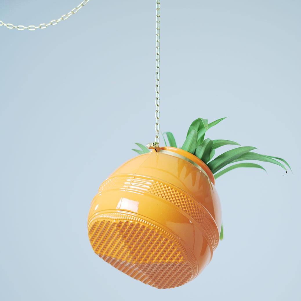 Large Orange Diamond Bottom Hanging Planter