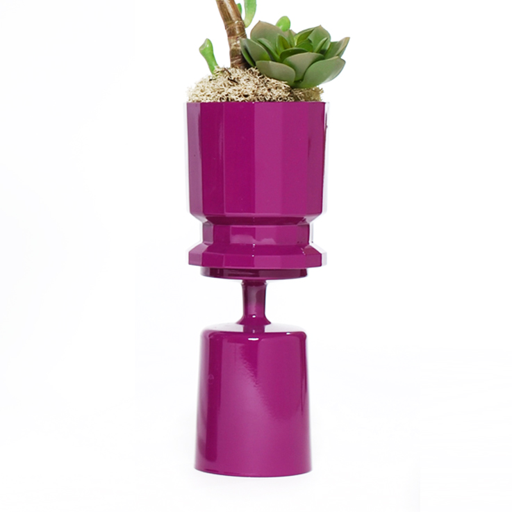 Magenta Double Stacked Striped Planter