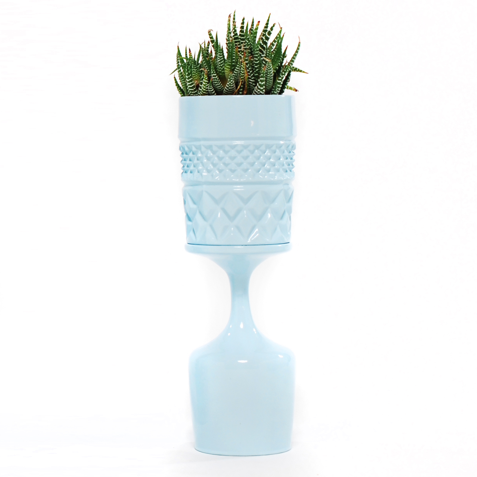 Blue Double Stacked Diamond Planter