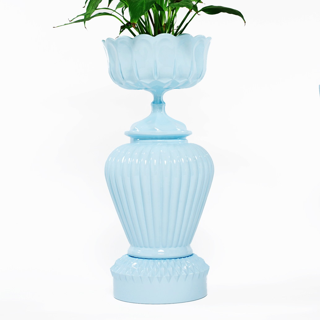 Light Blue Triple Stack Big Belly Planter