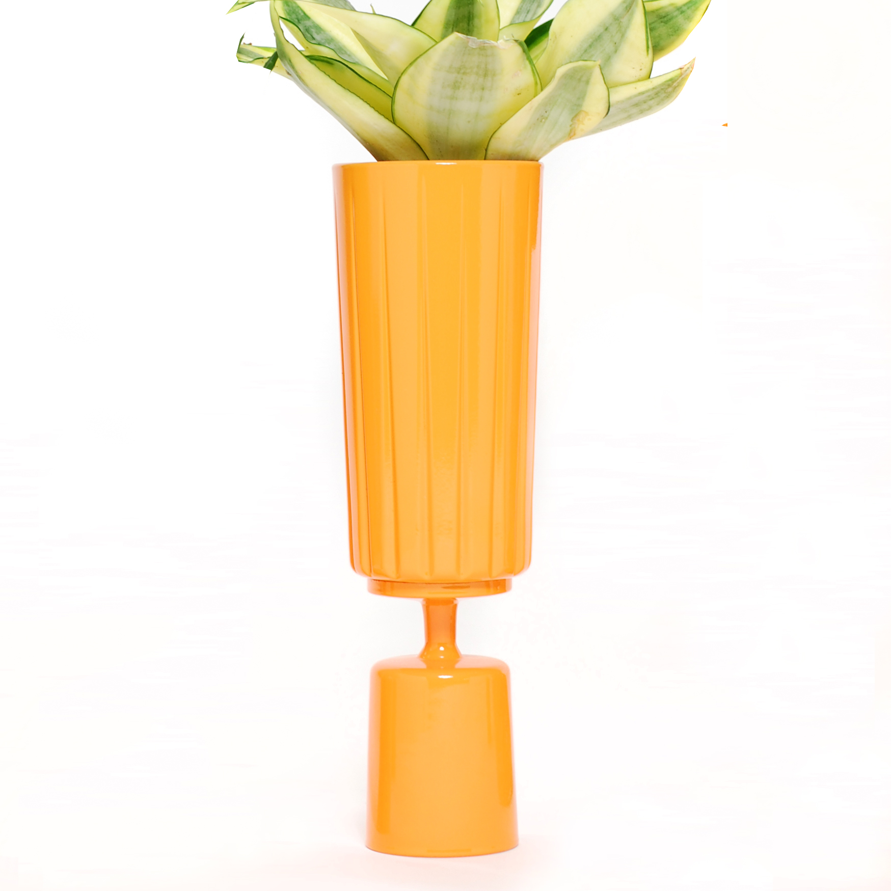 Orange Tall Top Double Stack Planter